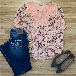 RuffHewn Peach Floral Shirt